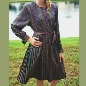 Vintage Prairie Dress Retro Sheath Womens 12